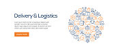 Delivery and Logistics Banner Template with Line Icons. Modern vector illustration for Advertisement, Header, Website.