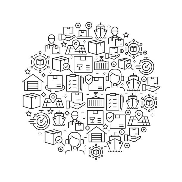 Livraison et logistique Concept - icônes de ligne noir et blanc, disposés en cercle - Illustration vectorielle