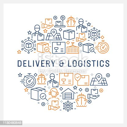 Delivery and Logistics Concept - Colorful Line Icons, Arranged in Circle