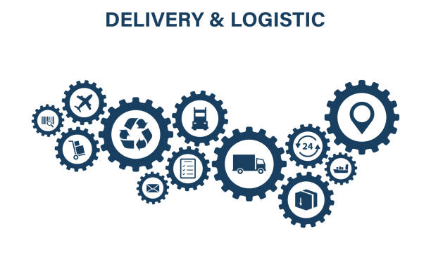 illustrazioni stock, clip art, cartoni animati e icone di tendenza di delivery and logistics concept. express delivery. web icon set. logistic, service, shipping, distribution, transport, market concepts.vector illustration. - logistica