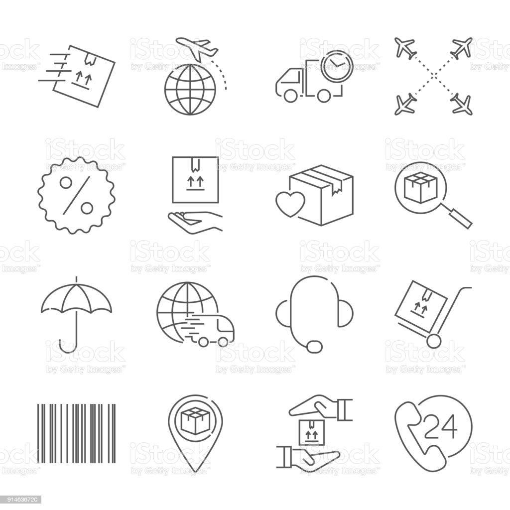 Livraison et logistique ensemble d'icônes. Collection de symboles Vector logistique ligne style. Accident vasculaire cérébral modifiable - Illustration vectorielle