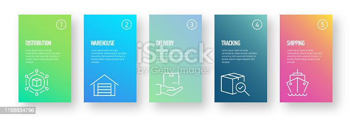 Delivery and Logistics Infographic Design Template with Icons and 5 Options or Steps for Process diagram, Presentations, Workflow Layout, Banner, Flowchart, Infographic.