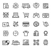 Vector Set of Delivery and Logistics Line icons with Alcohol, discount, pizza and shipping symbols