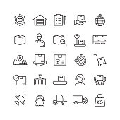 Delivery and Logistics Related Vector Line Icons