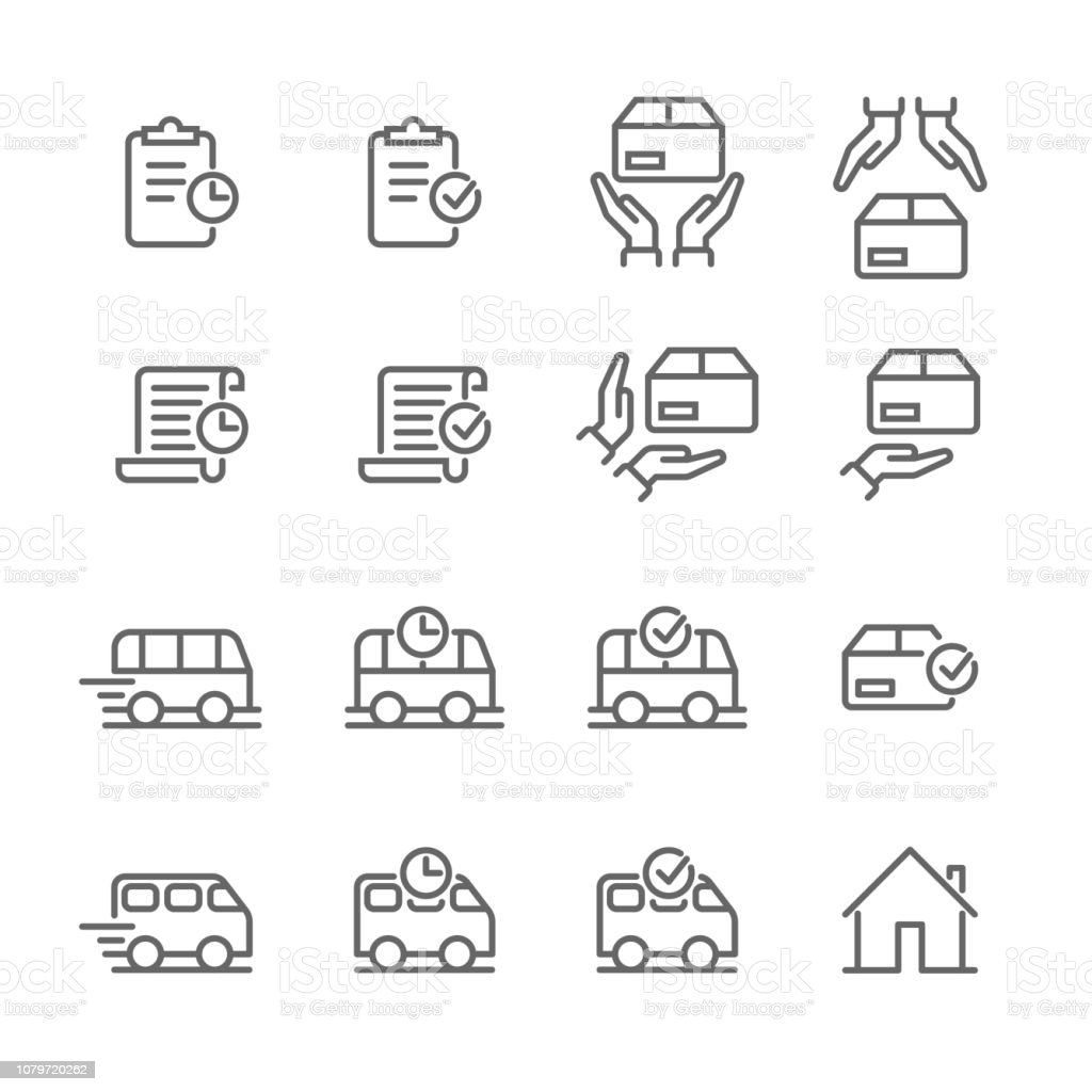 Delivery And Logistics Thin Line Icons For Online Shop Order