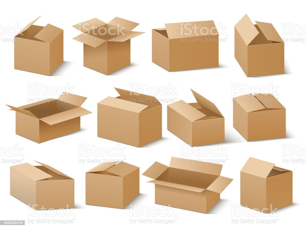 Delivery and shipping carton package. Brown cardboard boxes vector set vector art illustration