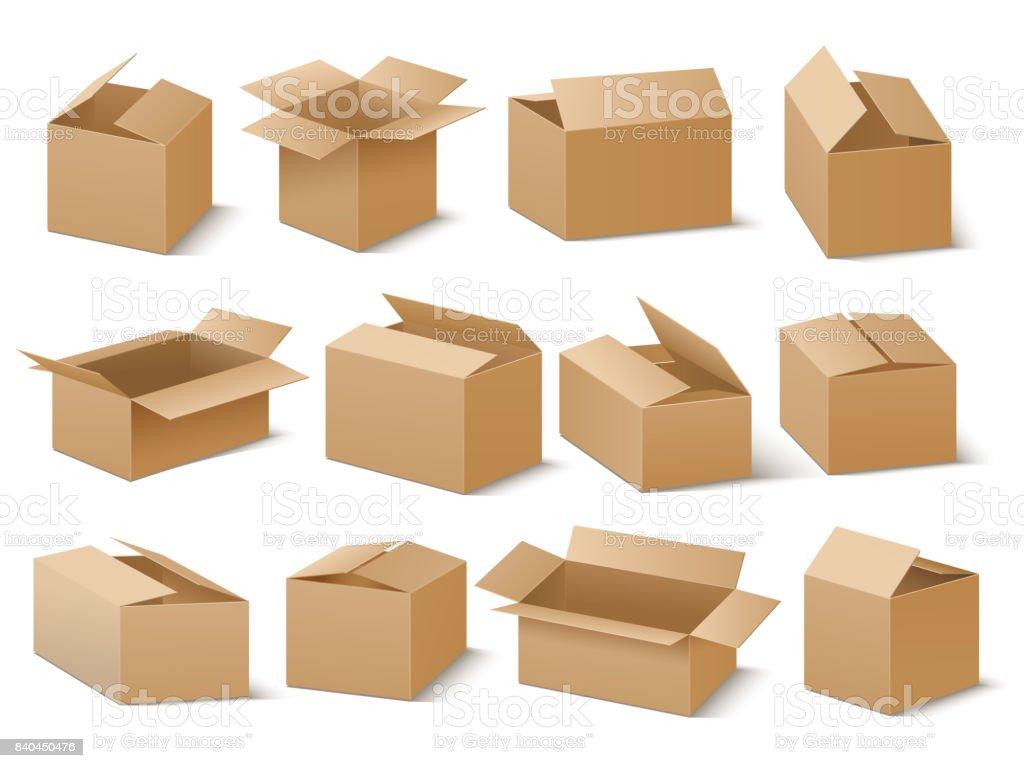 Paquet de carton de livraison et d'expédition. Boîtes en carton bruns vector ensemble - Illustration vectorielle