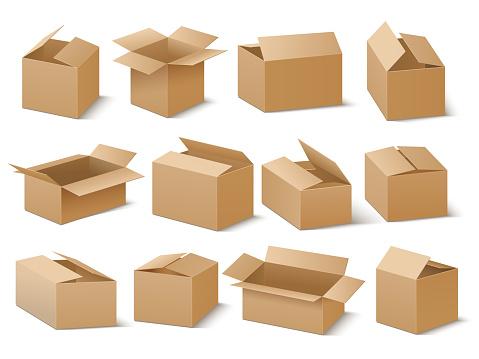 Delivery And Shipping Carton Package Brown Cardboard Boxes Vector Set - Stockowe grafiki wektorowe i więcej obrazów Bez ludzi