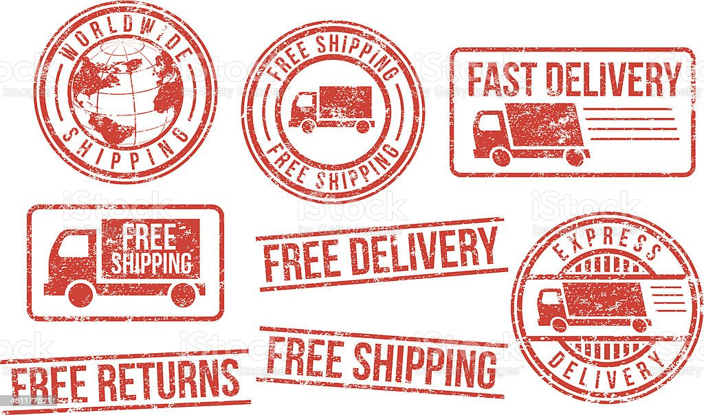 Delivery and shipping rubber stamps vector art illustration