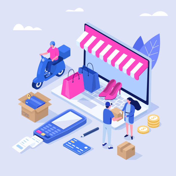 dostawa i zakupy - handel detaliczny stock illustrations