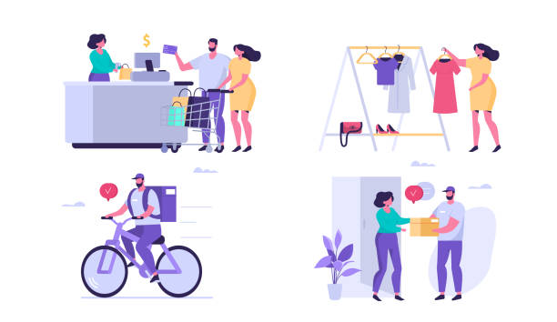 delivery and shopping Shopping people with different situations. Flat style modern vector illustration isolated on white background. seller stock illustrations