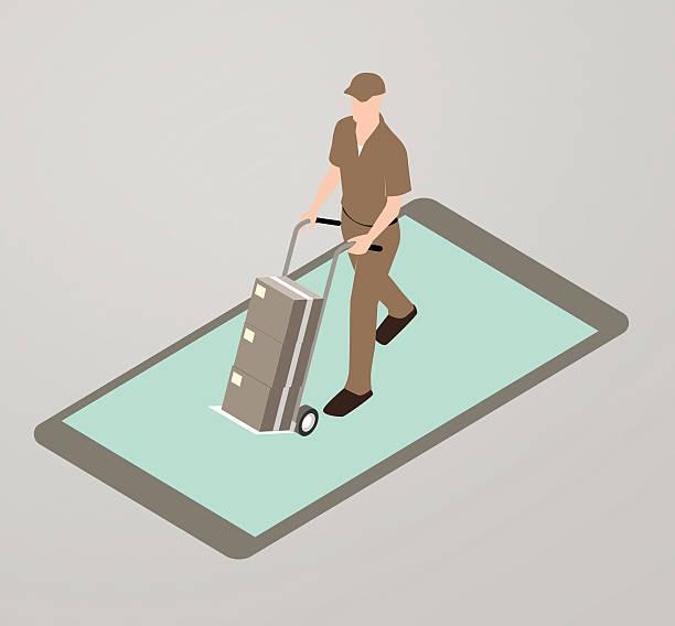 dostawa ilustracja aplikacji - wózek transportowy stock illustrations