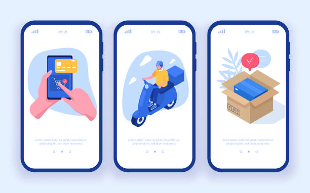 delivery app Delivery concept templates for mobile app page. Can use for web banner, infographics, hero images. Flat isometric modern vector illustration. e commerce stock illustrations