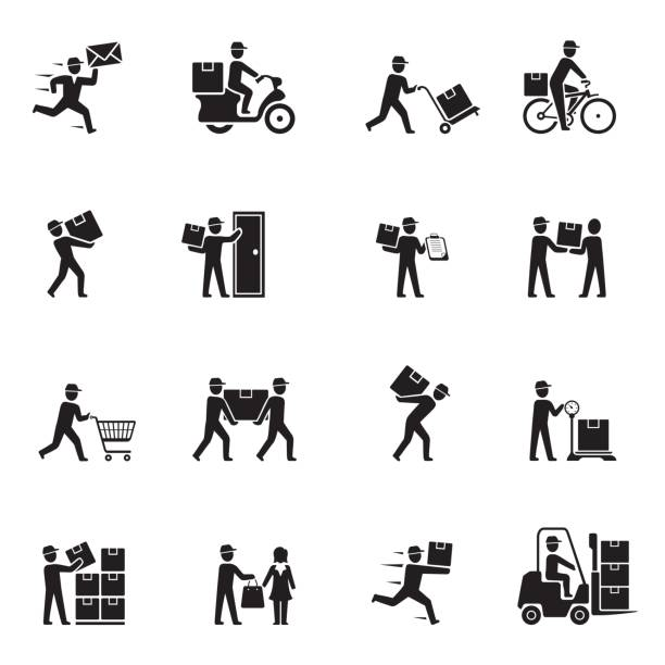 delivery black icons - postal worker stock illustrations