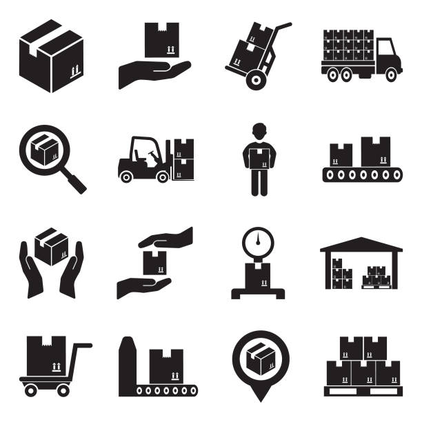 illustrazioni stock, clip art, cartoni animati e icone di tendenza di delivery boxes icons. black flat design. vector illustration. - logistica