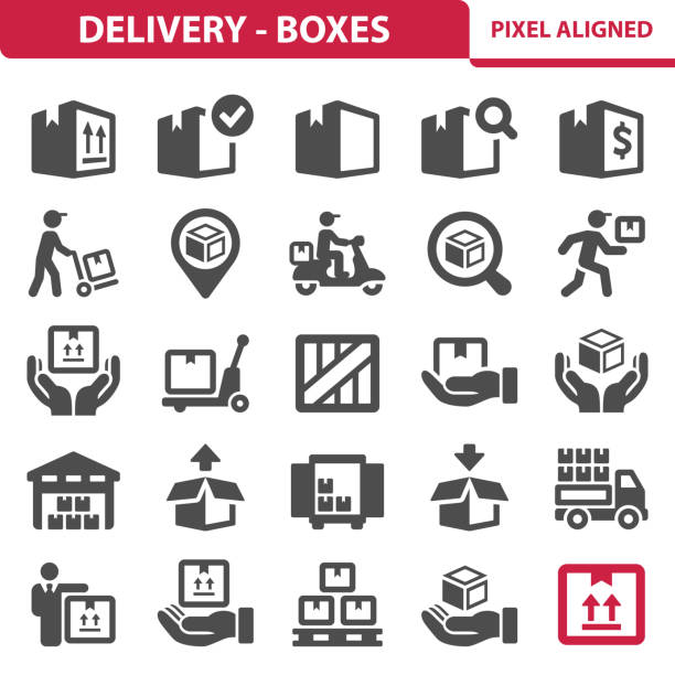 lieferung - boxen-symbole - frachtpaletten stock-grafiken, -clipart, -cartoons und -symbole