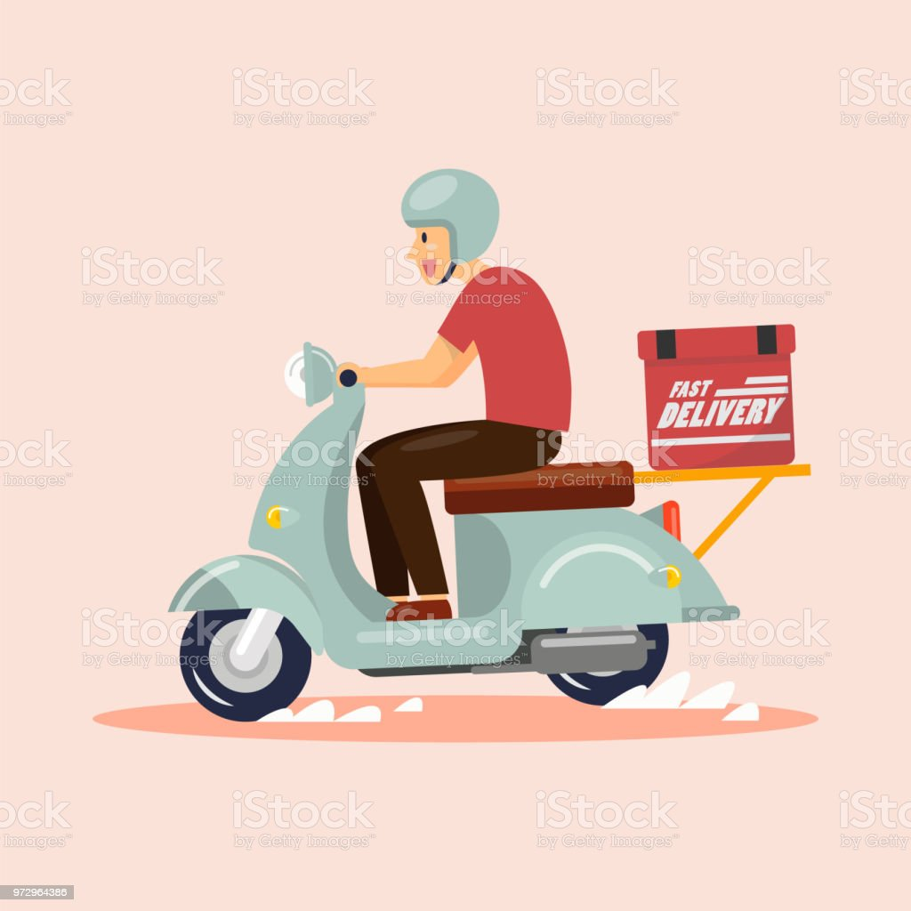 Delivery Boy Ride Scooter vector art illustration