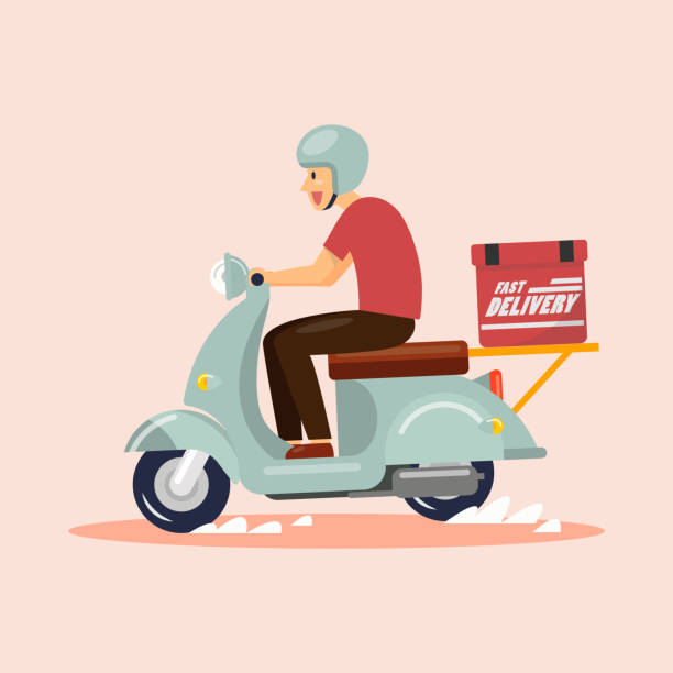 배달 소년 타고 스쿠터 - food delivery stock illustrations