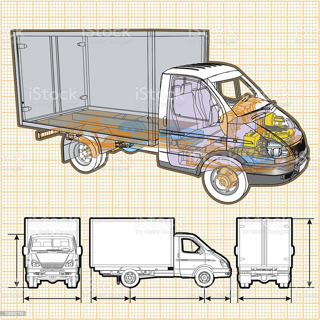 delivery / cargo truck infographics cutaway vector art illustration