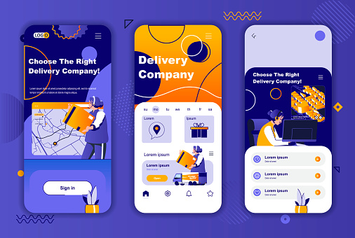 Delivery company unique design kit for social networks stories. Express delivery, warehousing and logistics mobile screens for app. UI UX layouts vector illustration