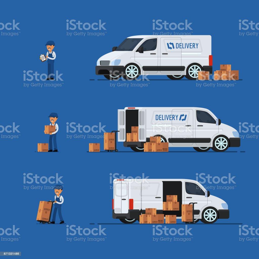 Concepto de entrega. Carro de entrega. Hombre de entrega. Ilustración de vector - ilustración de arte vectorial