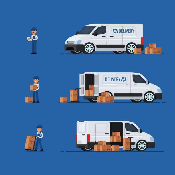 ilustraciones, imágenes clip art, dibujos animados e iconos de stock de concepto de entrega. carro de entrega. hombre de entrega. ilustración de vector - conductor de autobús