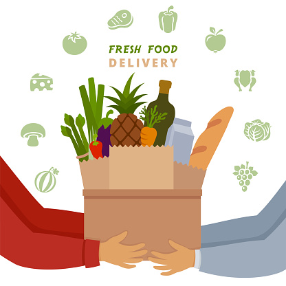 Delivery concept. Shopping paper bag with fresh products.