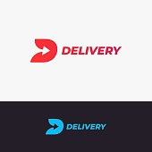 Delivery design. Letter D with arrow on black and white background