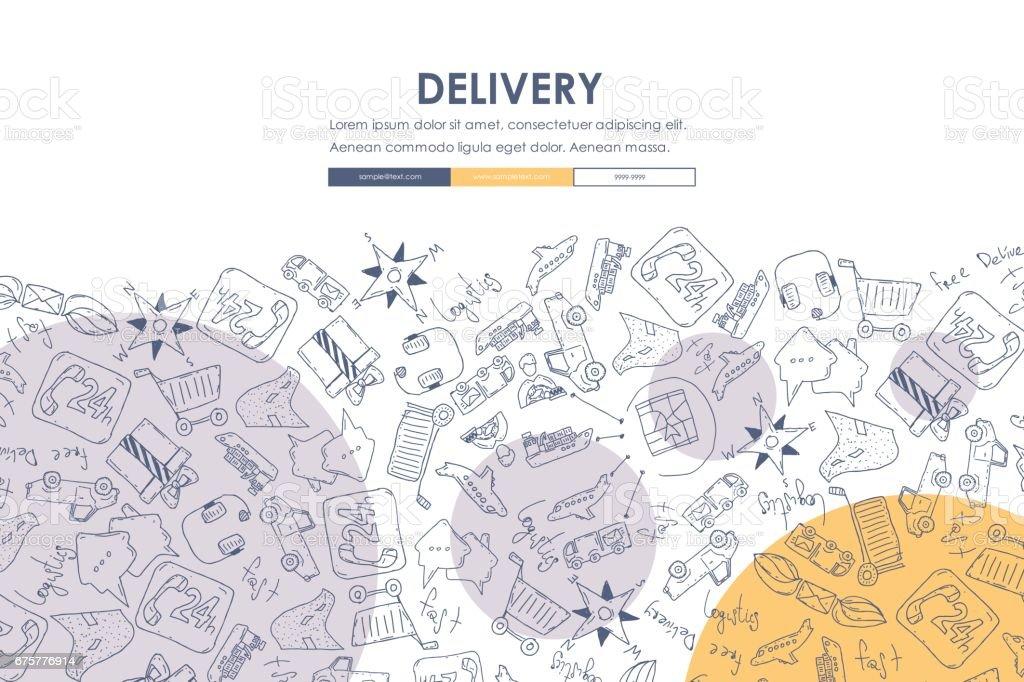 delivery Doodle Website Template Design vector art illustration