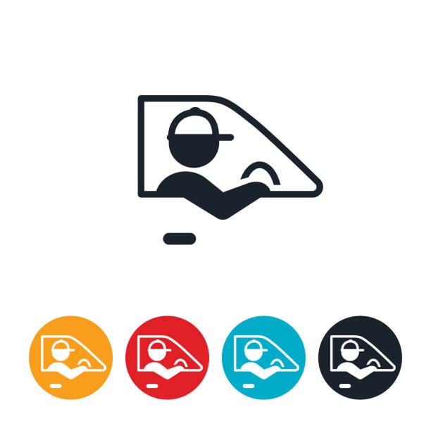 ilustraciones, imágenes clip art, dibujos animados e iconos de stock de icono de conducción del conductor de entrega - conductor de autobús