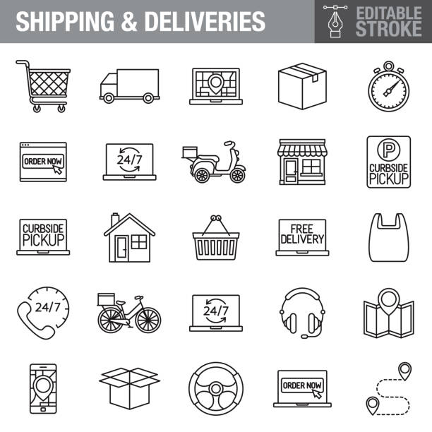 Delivery Editable Stroke Icon Set A set of editable stroke thin line icons. File is built in the CMYK color space for optimal printing. The strokes are 2pt black and fully editable, so you can adjust the stroke weight as needed for your project. curbsidepickup stock illustrations