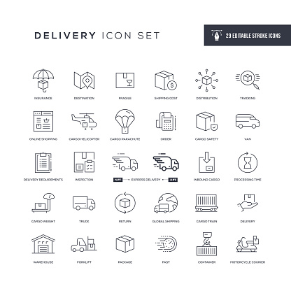 Delivery Editable Stroke Line Icons