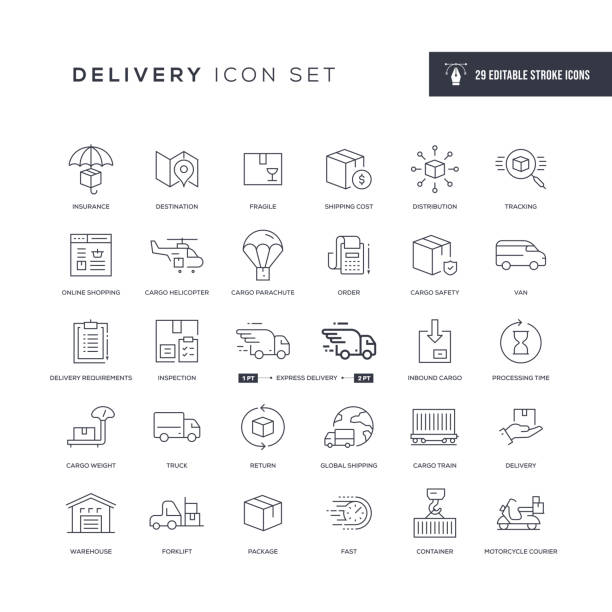 delivery editable stroke line icons - paket stock-grafiken, -clipart, -cartoons und -symbole