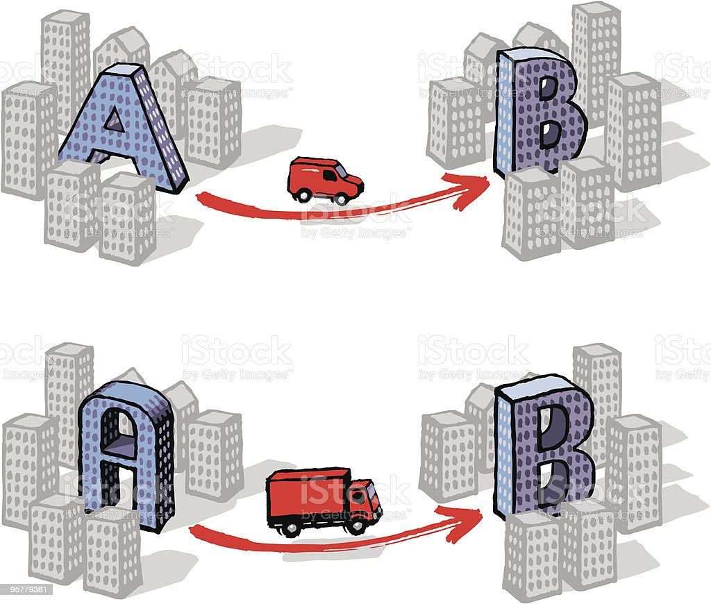 Delivery from A to B royalty-free stock vector art