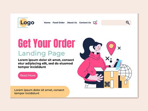 Delivery get your order landing page vector flat modern design