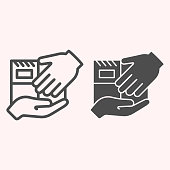 Delivery hands to hands line and glyph icon. Personall delivery, parcel holding on hand. Postal service vector design concept, outline style pictogram on white background, use for web and app. Eps 10