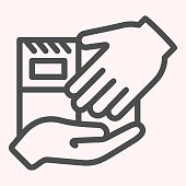 Delivery hands to hands line icon. Personall delivery, parcel holding on hand. Postal service vector design concept, outline style pictogram on white background, use for web and app. Eps 10