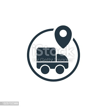 istock delivery icon. Glyph delivery icon for website design and mobile, app development, print. delivery icon from filled location and map collection isolated on white background.. 1325702369