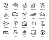 Delivery Icon Set - Thin Line Series