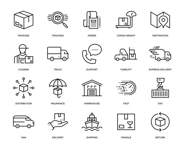 delivery icon set - warehouse stock illustrations