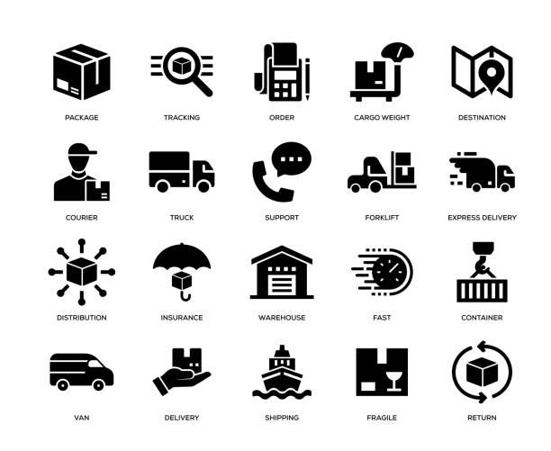 kumpulan ikon pengiriman - boat insurance ilustrasi stok