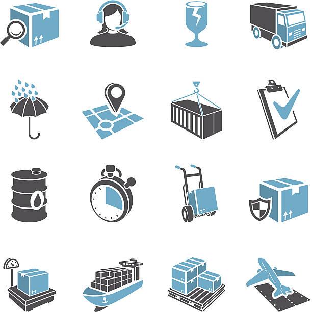 3 d zestaw ikon dostawy - wózek transportowy stock illustrations