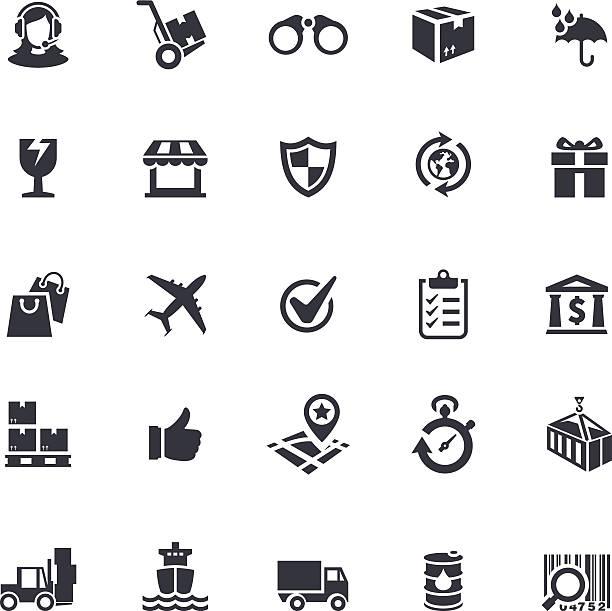 versand-icon-set - frachtpaletten stock-grafiken, -clipart, -cartoons und -symbole