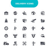 Freight Transportation, Shipping, Box - Container, USA, Logistics Icon Set