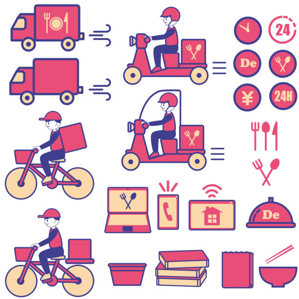 Delivery icon vehicles illustration set vector art illustration