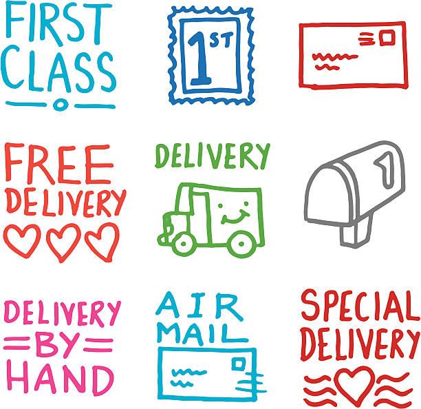 Lieferung Symbole doodle set – Vektorgrafik