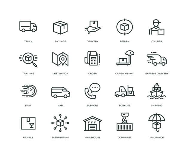 ikony dostaw - seria linii - obsługa stock illustrations