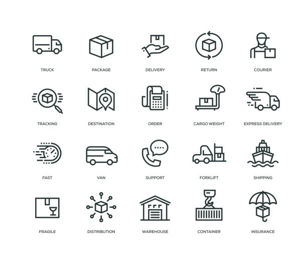 delivery icons - line series - warehouse stock illustrations