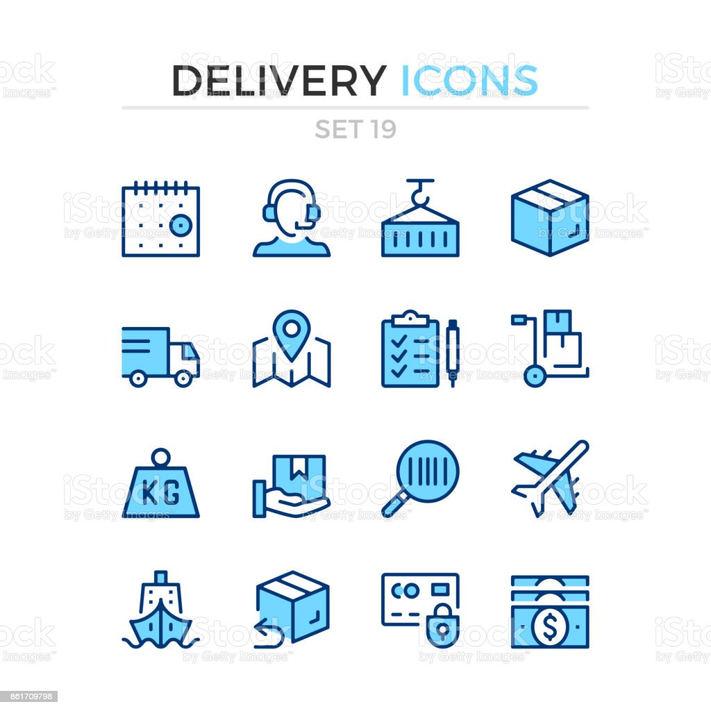 Delivery icons. Logistics, shipping, shipment. Vector line icons set. Premium quality. Simple thin line design. Stroke, linear style. Modern outline symbols, pictograms vector art illustration