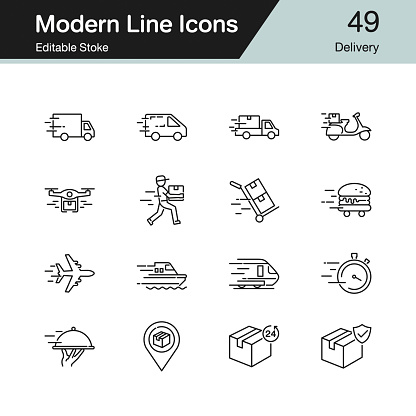 Delivery icons. Modern line design set 49. For presentation, graphic design, mobile application, web design, infographics. Editable Stroke.